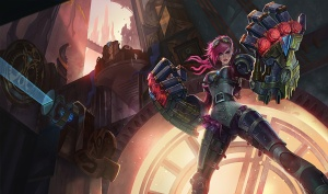 Vi is a jungling champion who uses her giant mechanical fists (and justice) to crush her foes.